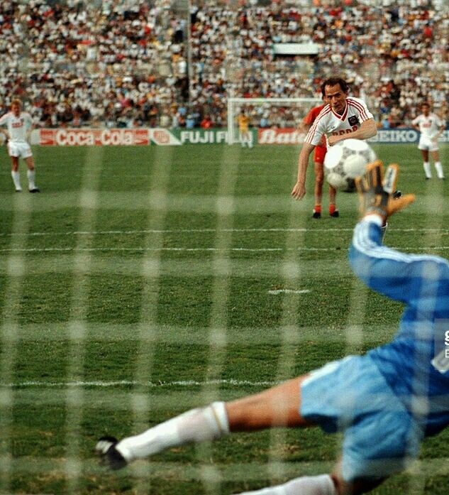 Belgium 4 USSR 3 in 1986 in Leon. Igor Belanov hits his penalty straight and its 4-3 to Belgium. This completed his hat-trick at the World Cup Finals.