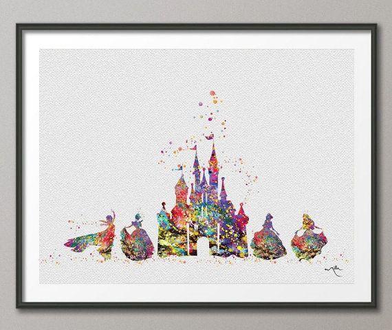 Cinderella Disney Princess Castle 2 Disney Castle Watercolor Print Archival Fine Art Print Princess Room No 236