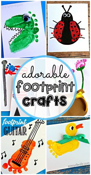 Have your kids make these easy footprint crafts using their feet! You will find baby footprint ideas such as boats, ducks, flags, guitars, dinosaurs, and more!