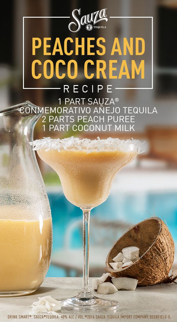 Create this cool and creamy coconut cocktail in three easy steps: add Sauza® Conmemorativo Anejo, peach puree, and coconut milk into a blender; blend until smooth. Direction: Combine all ingredients in blender and blend until smooth. Rim glass with simple syrup then coconut shavings. Pour into margarita glass and serve.