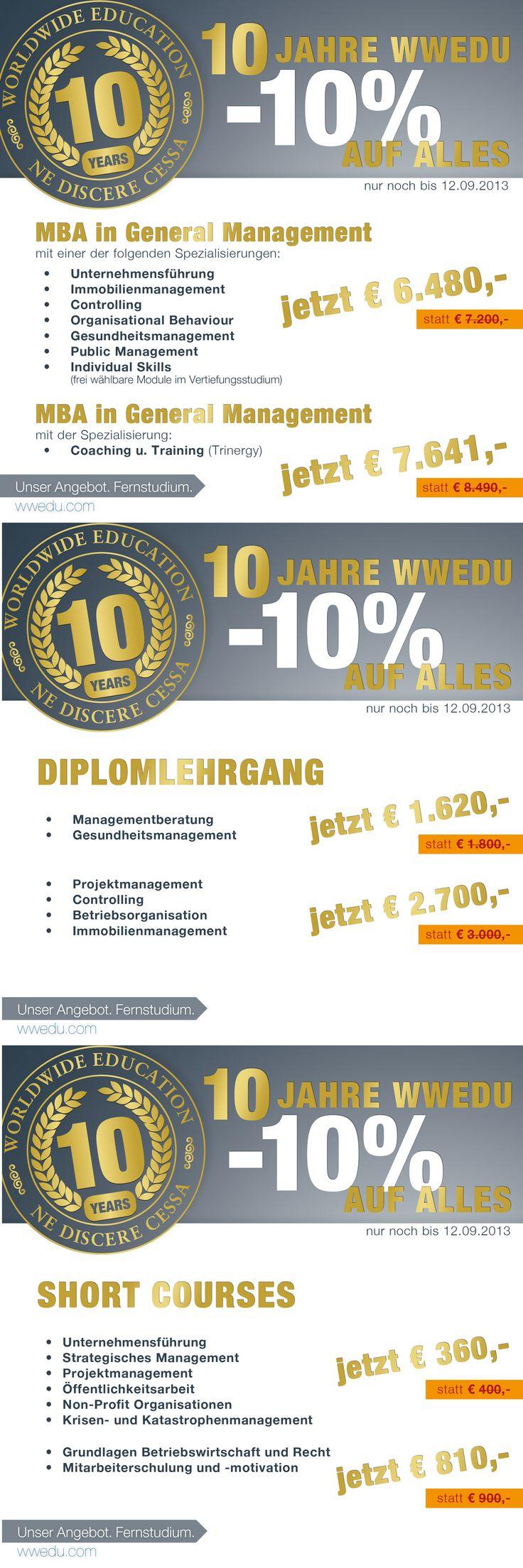 Noch bis 12.09.2013 erhalten Sie einen Geburtstagsrabatt von 10 % auf alle unsere Produkte auf www.wwedu.com | #mba #diplom #course #weiterbildung #fernstudium #studieren #karriere #erfolg