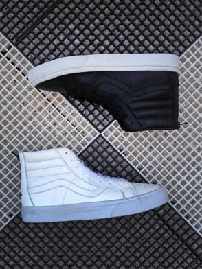 Black, White, & Leather All Over: The Premium Leather Sk8-Hi Reissue Zip.
