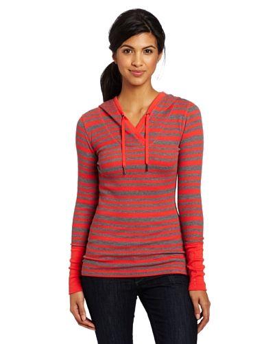 Calvin Klein Performance Women's Striped Thermal Hoodie Tee, Tomato/Grey, Medium
