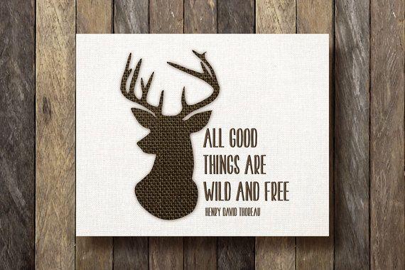 Thoreau Quote Print - Printable 8x10 - Stag Silhouette - Rustic Nursery - Woodland Decor - Deer Printable - Rustic Wall Decor - Buck Nursery by TheLionAndTheLark on Etsy