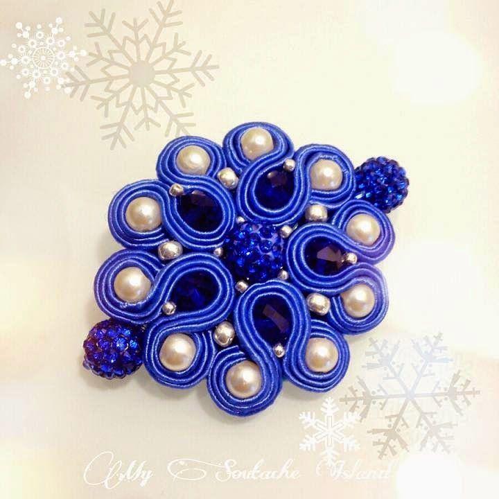 Soutache cobalt brooch, pearls, shamballa