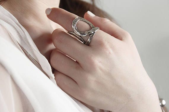 Statement ring chunky ring boho ring silver ring anniversary