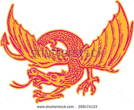 Etching engraving handmade style illustration of a medieval dragon looking to the side viewed from front set on isolated white background.  - stock vector