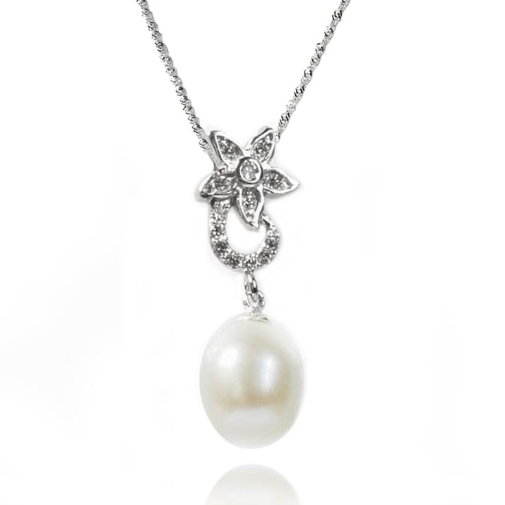 De Buman Sterling Silver Cultured Freshwater Pearl and CZ Necklace