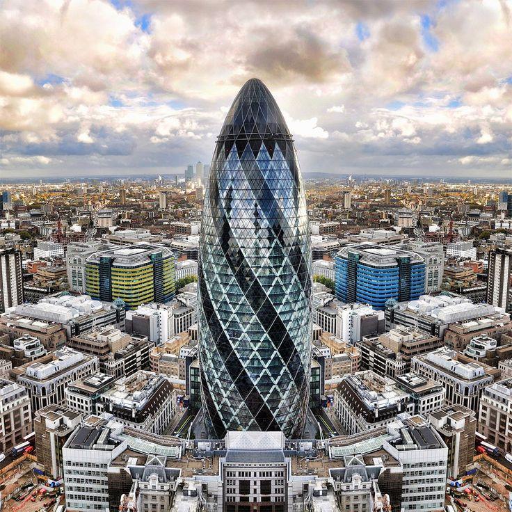 Великобритания - Башня Мэри-Экс - 40-этажный небоскрёб в Лондоне, конструкция которого выполнена в виде сетчатой оболочки с центральным опорным основанием.