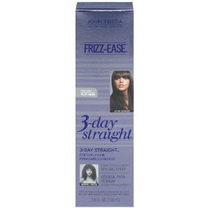 John Frieda Frizz Ease 3-day Straight Styling Spray, 3.5 Fluid Ounce (Pack of 3) by John Frieda. $25.75. Pack Of 3. Keeps hair glossy, smooth and swinging with body. Proprietary blend of polymers with keratin protein wraps each strand, sealing in straight style for up to 3 days. Weightless spray with heat prote countion blocks out frizz as you straighten. This revolutionary heat-a cultivated styling spray works with your straightening iron to enhance results so that ...