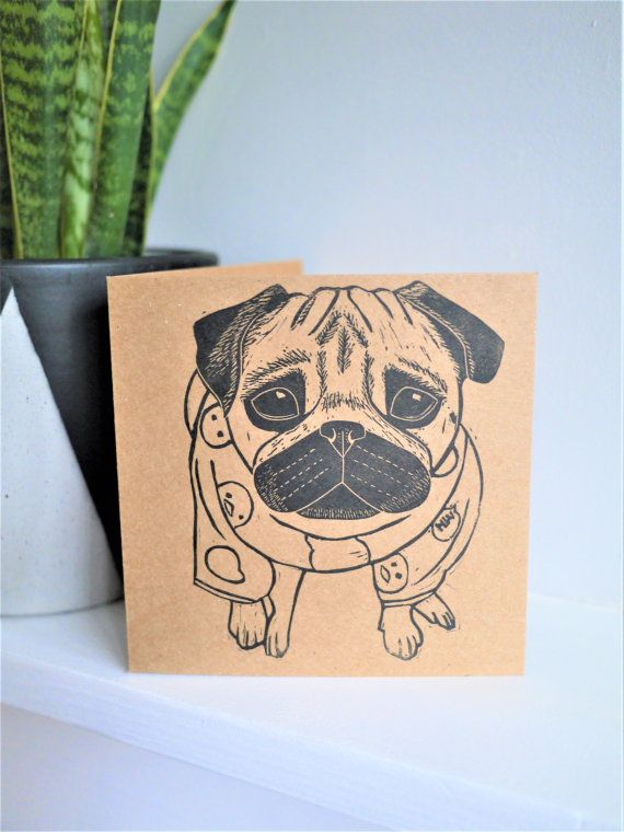 Pug Card Cute Pug in Pyjamas Card Hand Printed by TheBlackPugPress