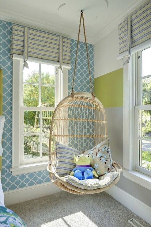Kids room in blue, green and gray. Hanging chair.