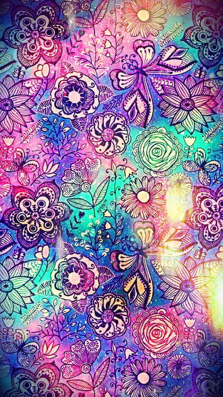 Flower Pattern Galaxy Wallpaper