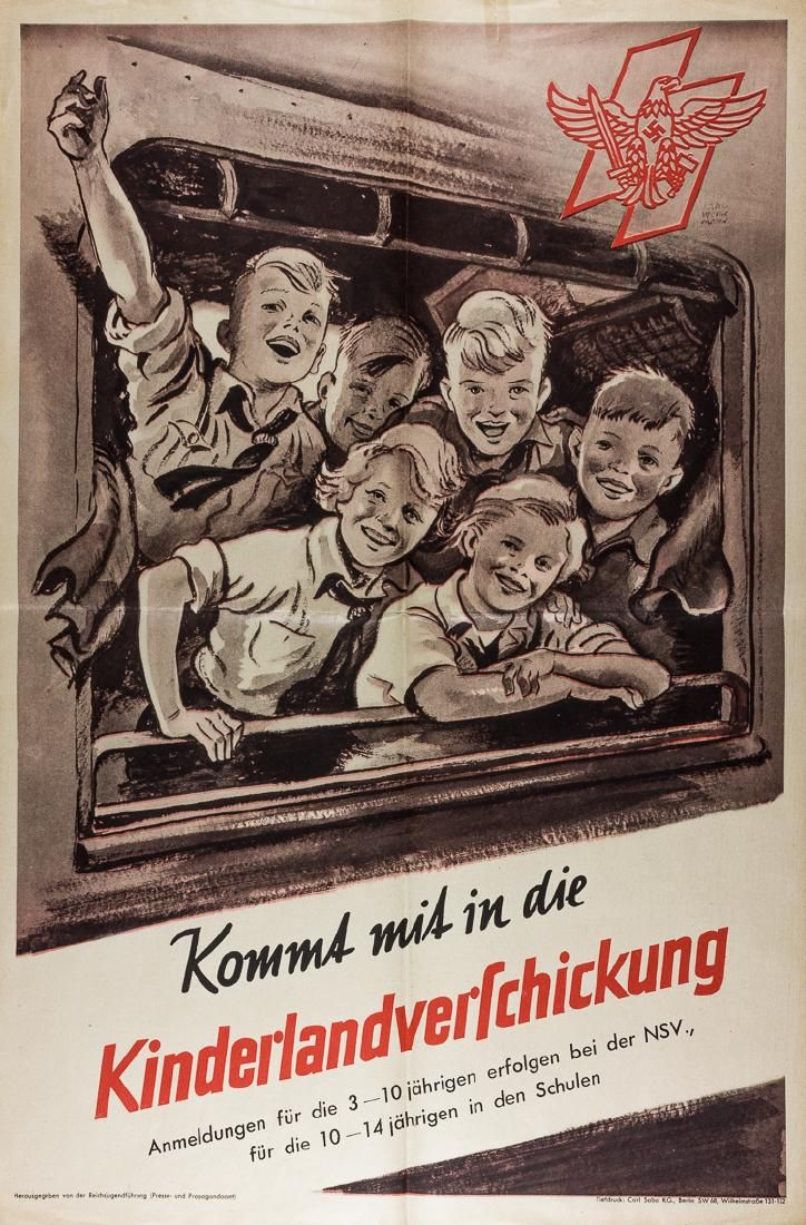 """CHILDREN'S EVACUATION"""" POSTER  Scarce Third Reich-era poster, 23 1/2"""" x 15 3/4"""", advertising the relocation of German children to the countryside to avoid the large-scale Allied bombing raids against cities during World War II. the poster depicts a group of BDM and Deutches Jungvolk members, smiling and waving as they lean out of a train window. The DJ """"sig"""" rune insignia appears at upper right, and the title """"Kommt mit in die Kinderlandverschickung"""""""