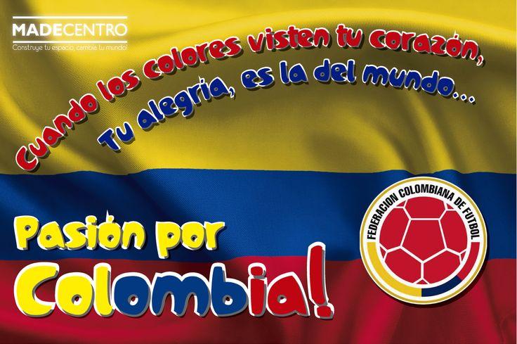Hoy nuestros corazones brincan de emoción, vivimos la alegría de luchar tras el balón, gritamos y gozamos por nuestra selección. Ponte tu camiseta tricolor y celebremos por que hoy juega nuestra Colombia! Partido Colombia vs Grecia Transmisión en vivo a las 11:00am desde Belo Horizonte (Directv, Caracol, RCN) ¡VIVE EL MUNDIAL CON MADECENTRO! #Tualegríacambiaelmundo #enMadecentrovivimoslafiestavivimosColombia