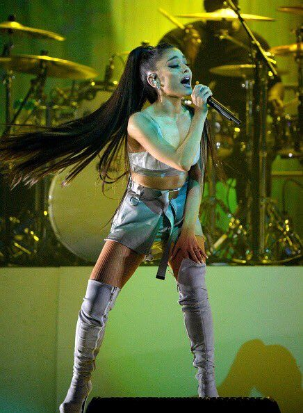 Ariana Grande on stage during the #DangerousWomanTour Opener at Talking Stick Resort Arena on February 3rd in Phoenix, Arizona