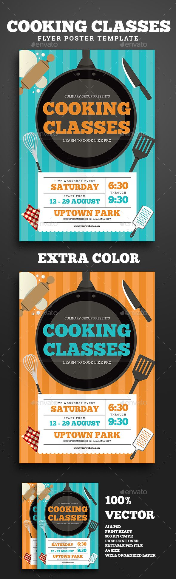 Cooking Classes Flyer — Photoshop PSD #print #art • Available here → https://graphicriver.net/item/cooking-classes-flyer/16963369?ref=pxcr