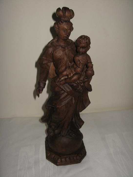 Antique wooden statue of Mary baby Jesus ...made by H. Helwegen, Koblenz