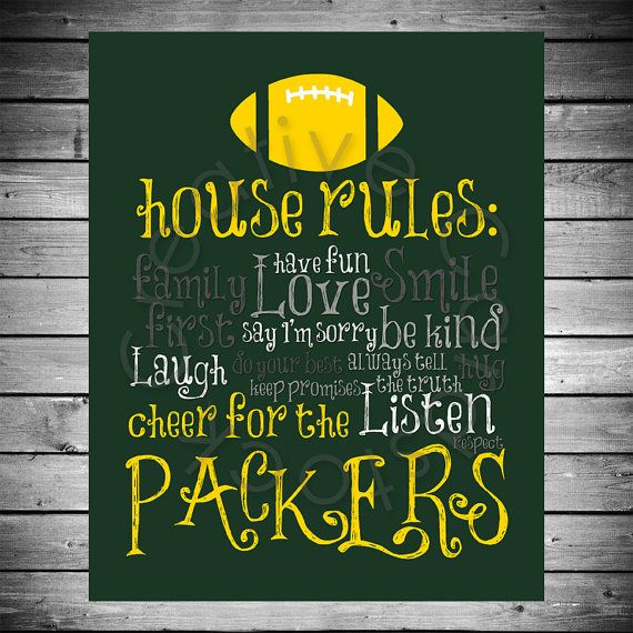 Green Bay Packers House Rules  8x10 INSTANT by CreativeCardstock, $10.00