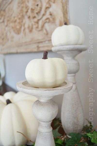 White Pumpkins On Candle Holders - LOVE