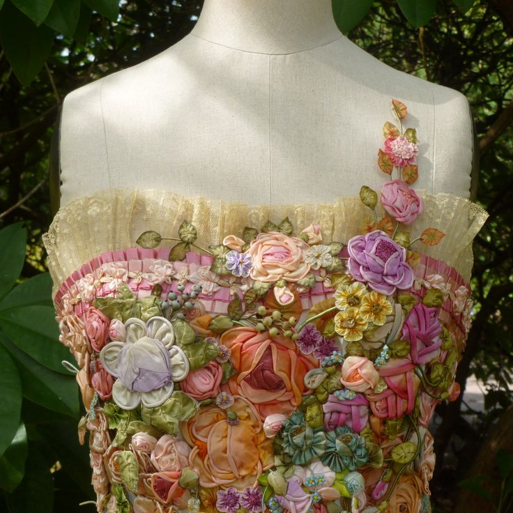 Ribbon Flower Art Corset