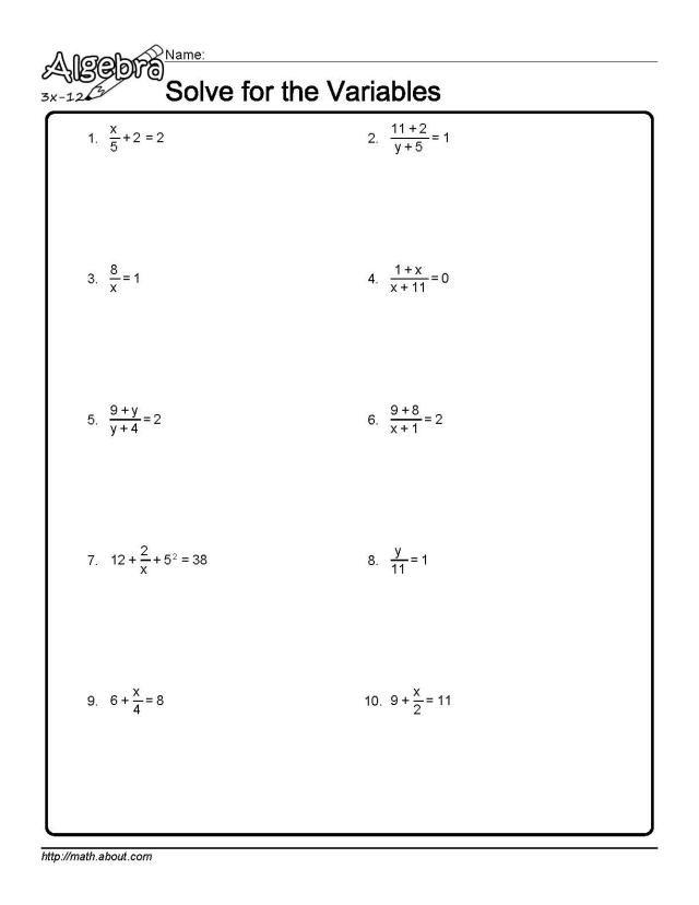 Algebra: Solve for the Variables Worksheet 1 of 10