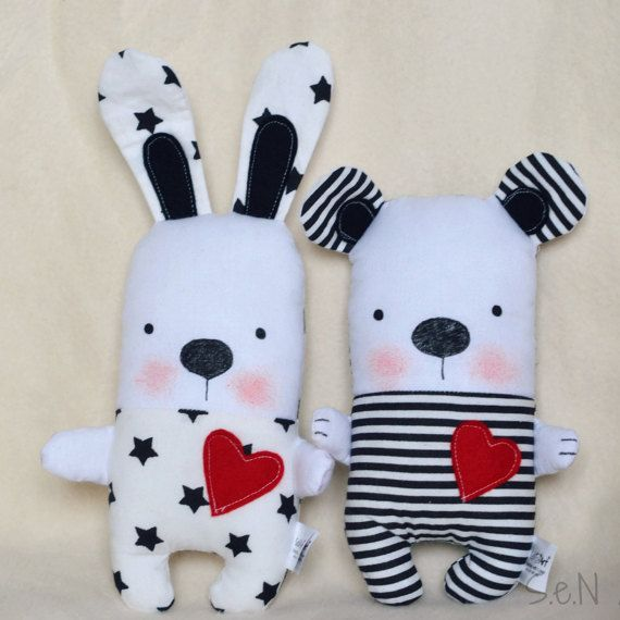 Black and White Striped Handmade Stuffed Teddy Bear por SenArt1