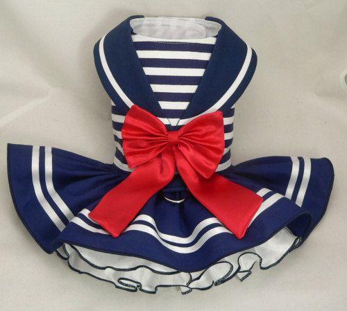 Dog dress.Nautical Maritime Sailor by Poshdog. Tutu skirt. by poshdog on Etsy https://www.etsy.com/listing/216361000/dog-dressnautical-maritime-sailor-by