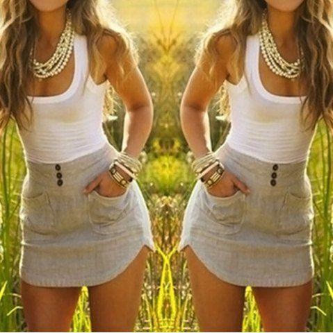 Stylish Scoop Neck Clock Block Double-Pocket Skinny Sundress For Women