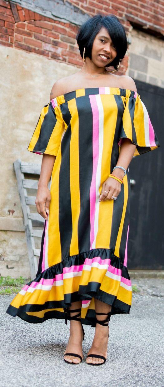 Off the shoulder dress, Stripe dress, High Low dress, Asos dresses, Indiana Fashion, Sweenee Style