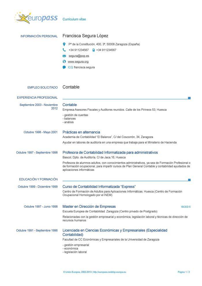 Europeo Word Modelos De Curriculum Vitae Ejemplos De Curriculum