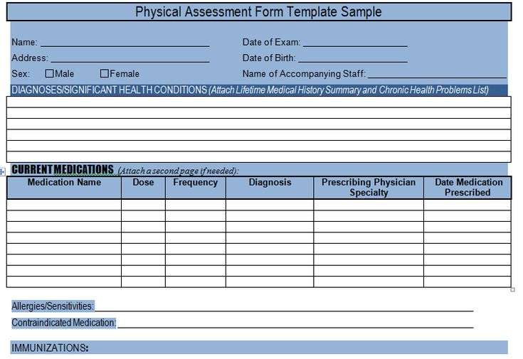 get physical assessment form template sample  u2013 project