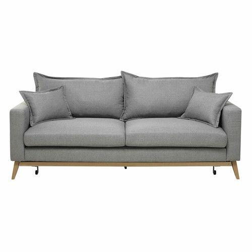 Canapé convertible 699 euros Maison du monde  3 places en tissu gris clair