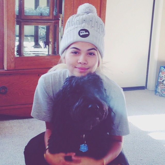 Hayley Kiyoko with her dog, Henry bear