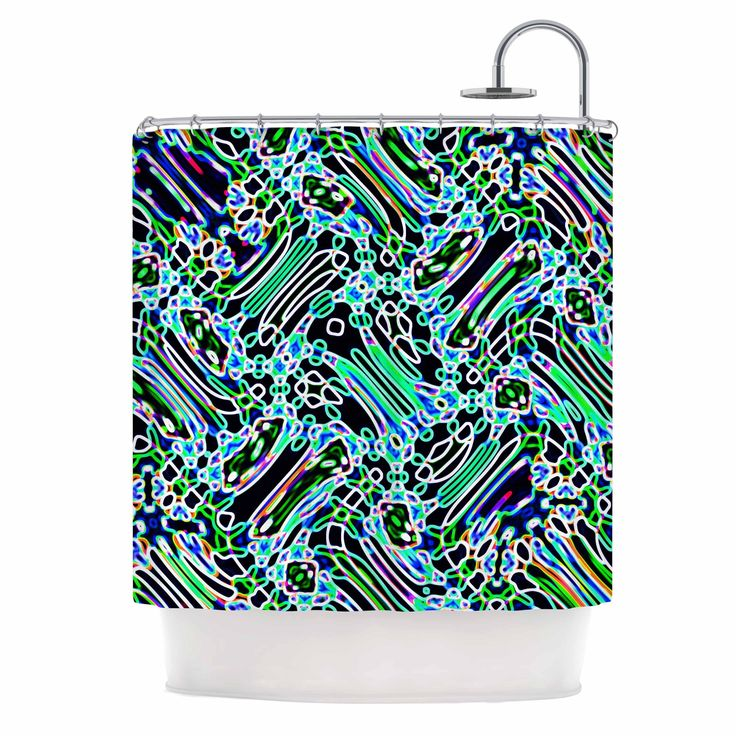 "Kess InHouse Dawid Roc ""Camouflage Pattern"" Teal Mixed Media Shower Curtain"