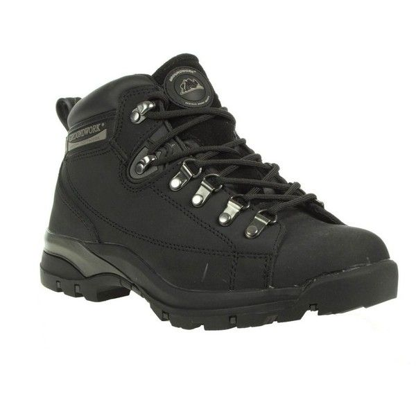 Black leather lace up steel toe cap boots (63 CAD) ❤ liked on Polyvore featuring shoes, boots, women's footwear, black lace up boots, steel toe cap boots, leather boots, leather cap and black leather boots
