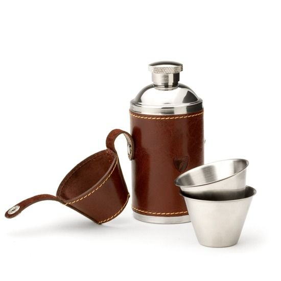 Hunter 6oz Leather Hip Flask in Smooth Cognac & Espresso Suede from Aspinal of London