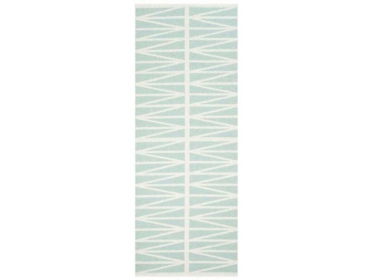 Alfombra de vinilo azul turquesa con doble zigzag 70x100