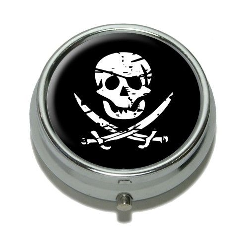 Pirate Skull Crossed Swords Pill Box, Grey | Products