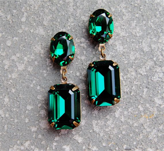 Emerald Green Earrings Swarovski Crystal Post Dangle or Clip on Earrings Rectangle Drop Rhinestone Earrings Fiesta Sparklers Mashugana