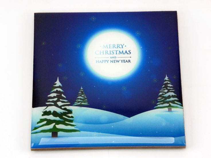 Merry Christmas Moonlight Happy New Year Drink Coaster Unique Gift Wood Osarix