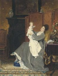 Playing with baby by Conrad Kiesel