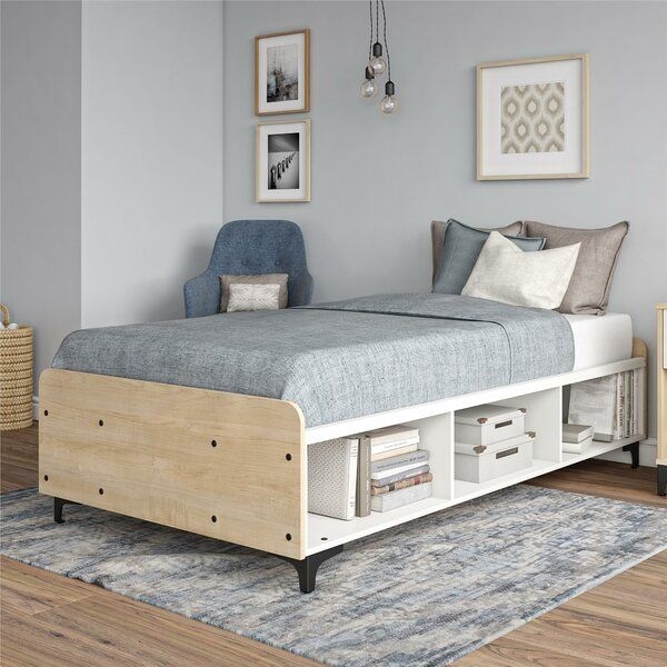 Add Some Scandinavian Styling To Your Bedroom Or Guest Room With This Bed The Two Tone Light Woodgrain Twin Platform Bed Platform Bed With Storage Bed Shelves