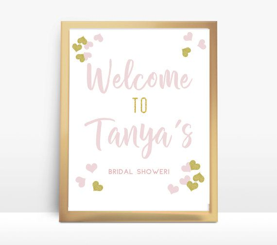 Welcome Bridal Shower PRINTABLE Pink and Gold by thepaperstash I love Pink and GOLD Glitter!  This Welcome Sign is perfect for a Bridal Shower! #bridal #shower #printables #printable #diy #bridalshower #sign #welcome #custom #pink #gold #glitter