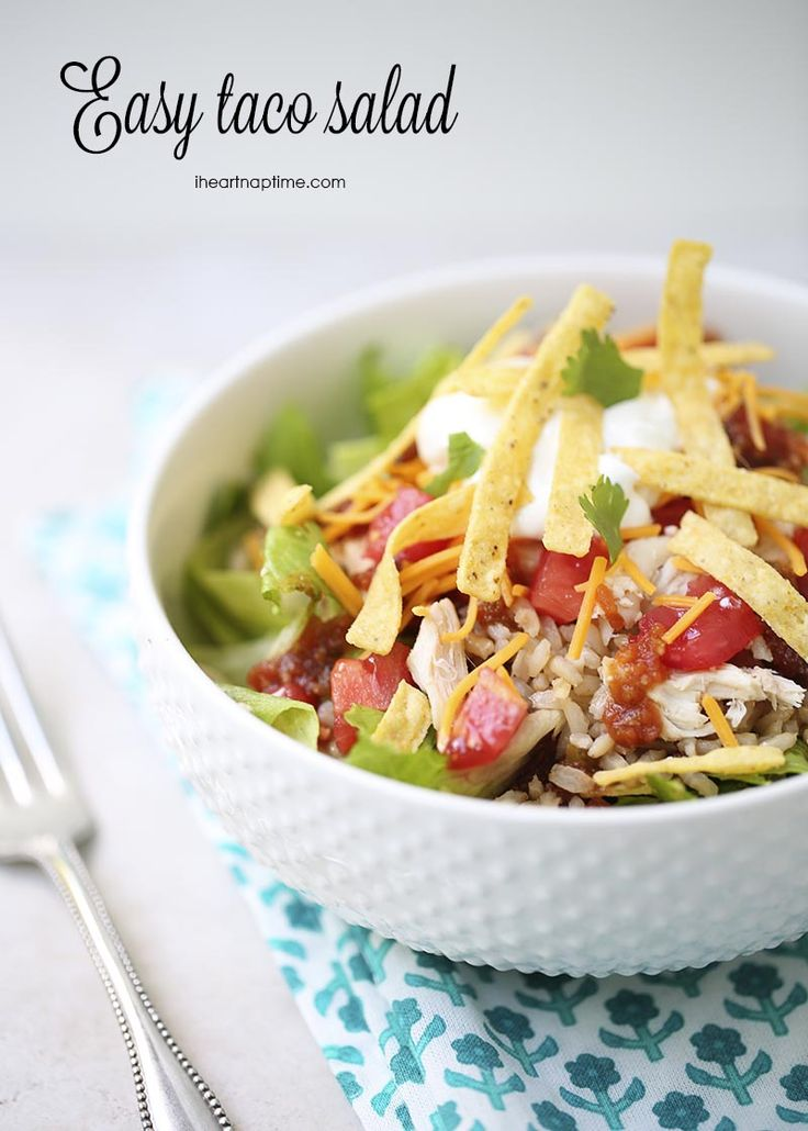 Easy taco salad made in 5 minutes! Perfect for busy school nights.