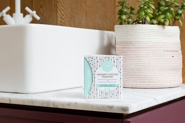 The first 100% GOTS certified organic cotton tampon with a plant-based plastic compact tampon applicator. $7 for 16 pack