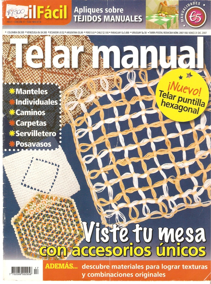 Una revista con hermosas ideas para inspirarse y tejer con telar manual.