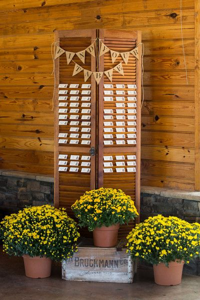 Rustic Escort Card Display | Weddings | Grace Hill Photography