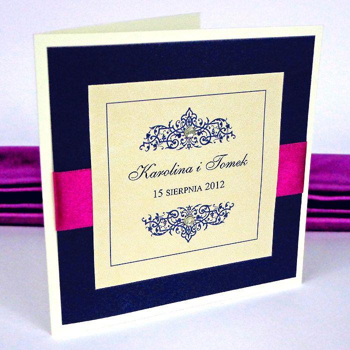 Dla VIPÓW - Passe Partout - Olivia Eleganckie, granat, wstążka fuksja 2 Zaproszenia ślubne oryginalne, stylowe, piękne w angielskim stylu. Zaproszenie na ślub i wesele.