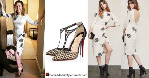 "Buy Sophia Bush's ""The Meredith Vieira Show"" Black and White Floral Print Dress and Black Fishnet Pumps, here!"